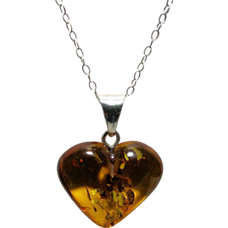 Baltic Amber Heart on Sterling Chain
