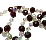 Aurora Borealis Crystal and Faceted 'Cherry Amber' Celluloid Necklace
