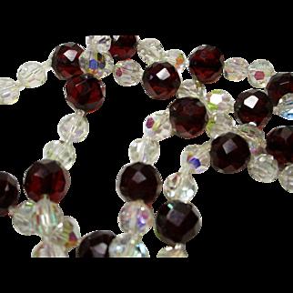 Aurora Borealis Crystal and 'Cherry Amber' Bakelite Necklace