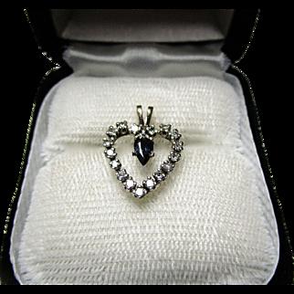 14K White/ Yellow Gold Diamond and Sapphire Heart Pendant