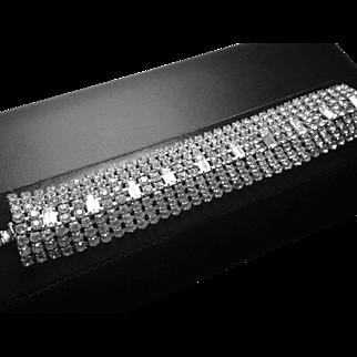 Clear, Wide, Elegant,  Vintage Rhinestone  Bracelet