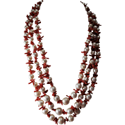 Stunning Genuine Coral and Faux Pearl Triple Strand Necklace