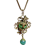 Czech Brass & Molded Jade Pendant and Drop 1920's Necklace