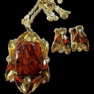 Czech Rhinestone Pendant Necklace and Earrings Set.