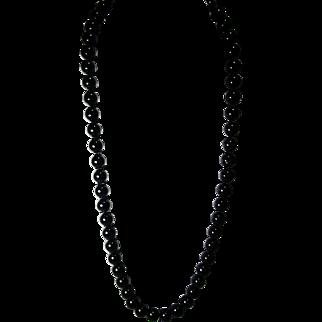 "Genuine Onyx 30"" L. 13mm Bead Necklace"