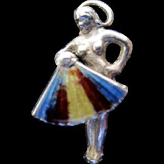 Vintage Sterling and Enamel Fan Dancer Charm