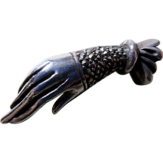 Marcasite and Sterling Silver Hand Brooch