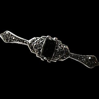 German Art Deco Marcasite and Onyx Bar Pin