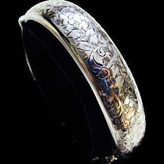 Beautifully Engraved Sterling Hinged Bangle Bracelet