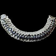 Frosted Grey Glass and Blue Aurora Borealis Rhinestone Bracelet