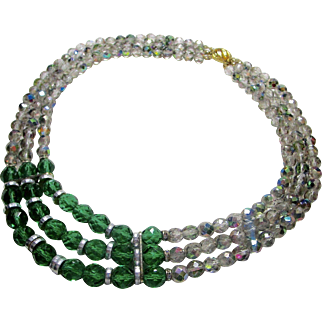 Fabulous Triple Strand Faceted Crystal Necklace