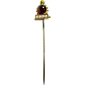 Victorian 14K Garnet and Seed Pearl Stick Pin