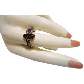 Antique Victorian Bohemian Garnet Shamrock Ring