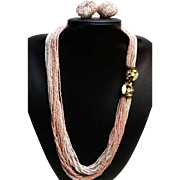 Elegant Multi-Strand Sautoir Necklace with a Fabulous Catch and Earrings
