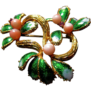 Exquisite 18K YG Enamel, Coral and Pink Tourmaline Brooch