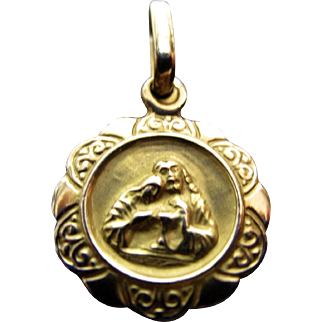 14K Mary and Jesus 1st Communion Charm/Pendant in Yellow and Rose Gold