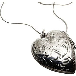 Engraved Sterling Heart-Shaped Locket and Chain