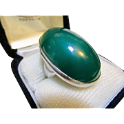 George Jensen Sterling and Chrysoprase No. 90 Large Cabochon Ring