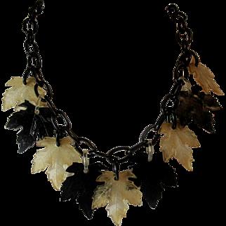Art Deco Celluloid Maple Leafs Dangle Necklace