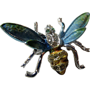 Beautifully Enameled Flying Bug Insect  Brooch