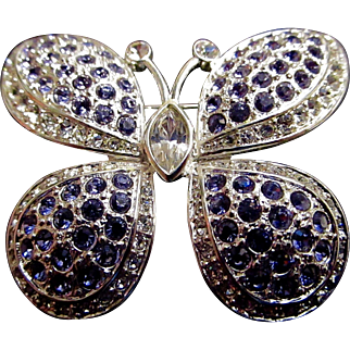 Large Vintage Signed Napier Butterfly Brooch