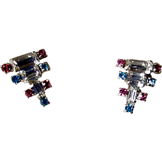 Art Deco Jay-Flex Sterling Crystal Earrings