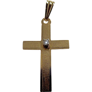 14K Yellow Gold and Diamond Cross