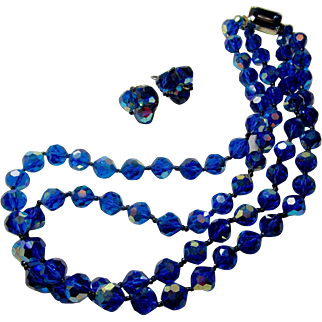 AB Azure Blue, Double Strand of Faceted Crystal Necklace and Earring Set