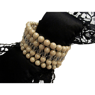 Signed Miriam Haskell 5 Row Glass Pearl and Faceted Crystal Bead Cuff Wrap Bracelet