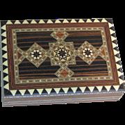 Vintage Inlay Wood Card Box
