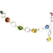 Amazing 1960's Multi Colored Resin &Gold Colored Chain Belt