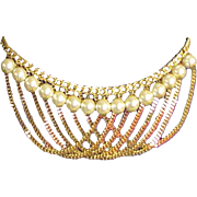 Vintage Gold Colored Chain & Large Faux Pearl Belt