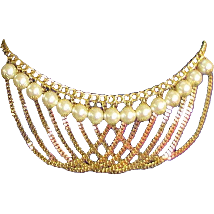 Vintage Gold Colored Chain Amp Large Faux Pearl Belt From