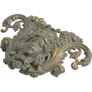 Late 100's Victorian Lady Metal Belt Buckle