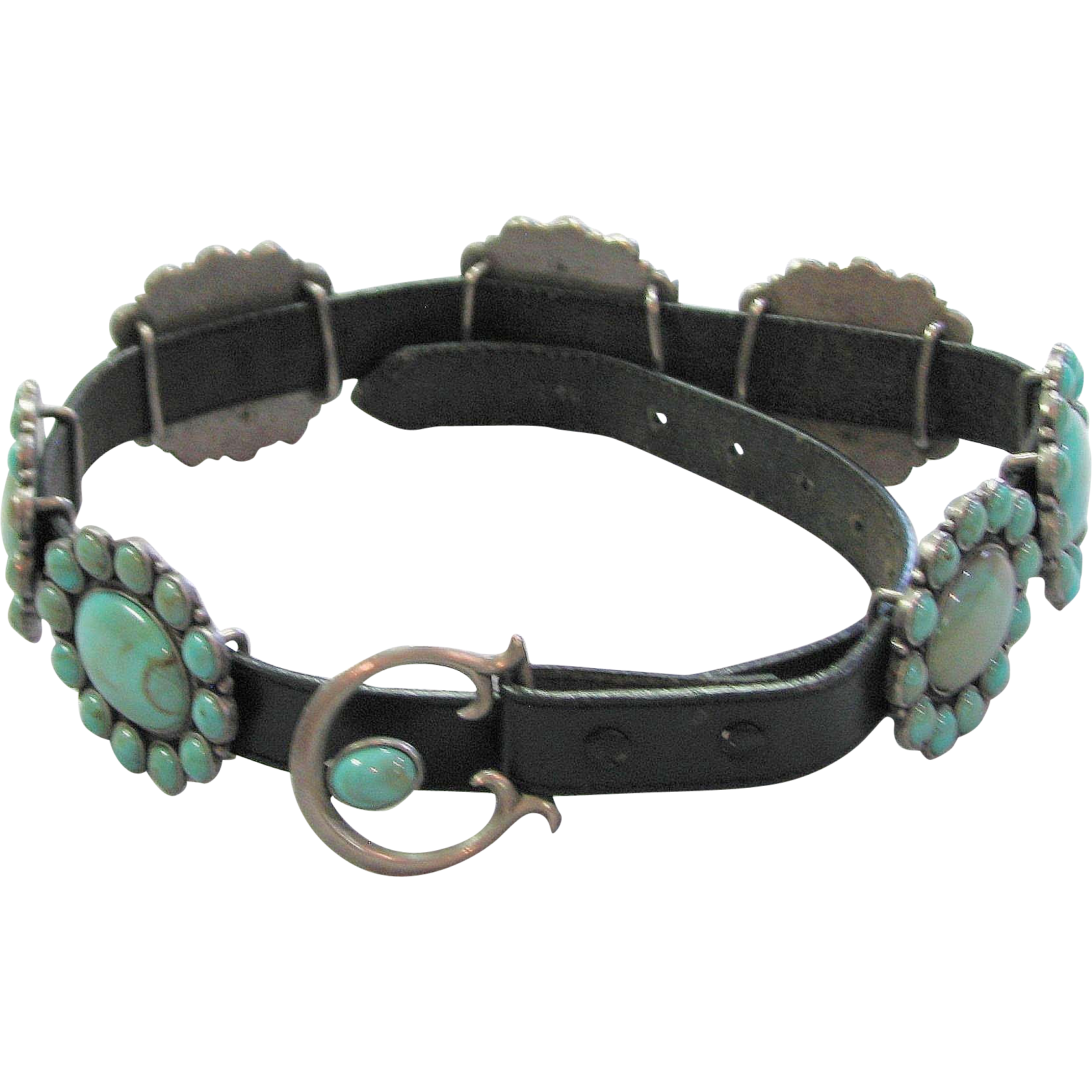 vintage faux turquoise leather belt from mjgdesigns on