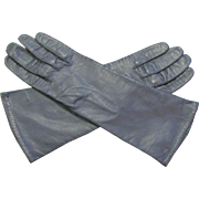 Vintage Navy Blue Kid Leather Silk Lined Gloves