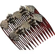 Mid Century Sterling Hair Combs