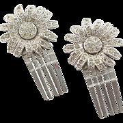 Two Silver Metal & Clear Rhinestone Hair Combs