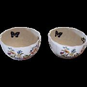 Two Vintage Aynsley Var-I-Ete` Bowls Marked Cottage Garden