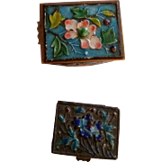 Tiny Antique Chinese Enamel Box, Cloisonne Chinese Tiny Box