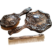 Vintage Art Deco Dresser Set, Comb, Mirror, Hair Receiver & Brush Set