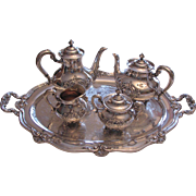 Vintage Reed & Barton  Silver Plate Tea Set Regent Shield Pattern