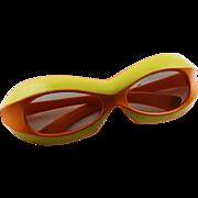Vintage 1960's Samco Mod Dep. Funky Sunglasses In Orange & Yellow