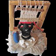 Vintage Handmade Fred Harvy, A Navajo Artist Indian Lady At Her Loom