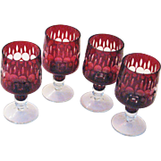 Vintage Ruby Cut To Clear 1960's Wine Glasses