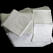 Amazing Vintage Linen Sphinx Tablecloth & 12 Napkins