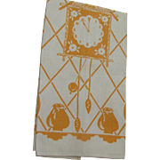Vintage New Never Used Silk Screened Linen Kitchen Towel