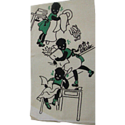 Vintage New Never Used Silk Screened Linen Black Memorabilia Kitchen Towel