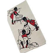 Vintage Never Used Black Memorabilia Silk Screened Linen Kitchen Towel