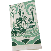 Vintage Silk Screened Linen Southern Themed Kitchen Towel